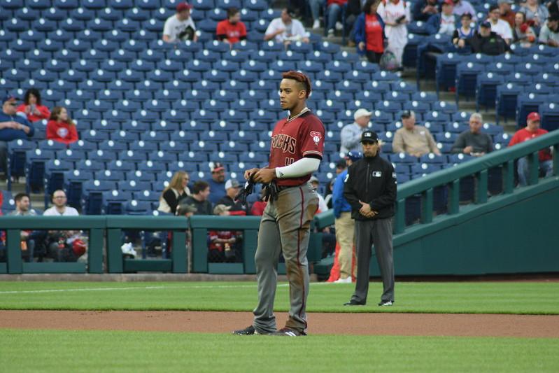 MLB Arizona Diamondbacks center fielder Ketel Marte on the field during a baseball game.