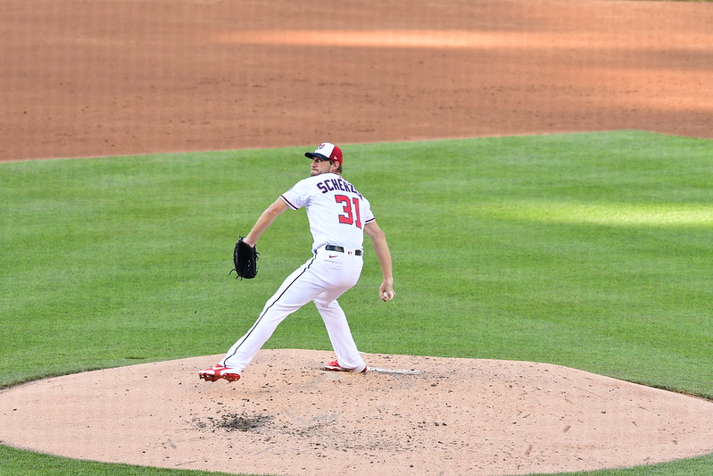 MLB Washington Nationals pitcher Max Scherzer winding up for a pitch against the Philadelphia Phillies.