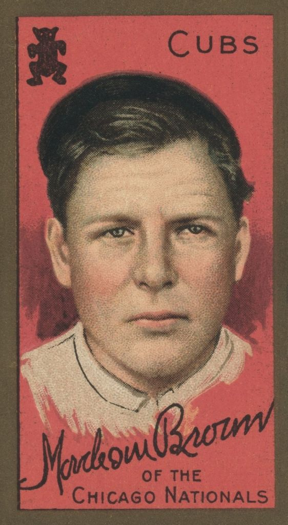 "Mordecai ""Three Finger"" Brown, 1911 Chicago Nationals baseball card"