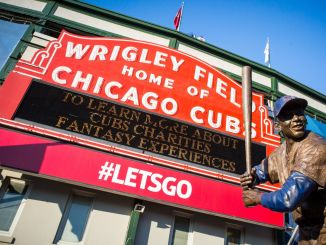 The Wrigley Field sign Home of Chicago Cubs