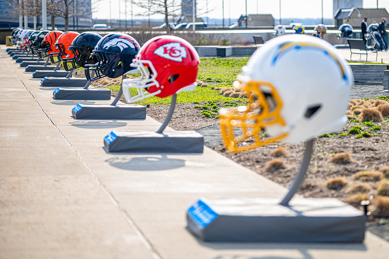 2021 NFL Draft helmets in Cleveland, Ohio.