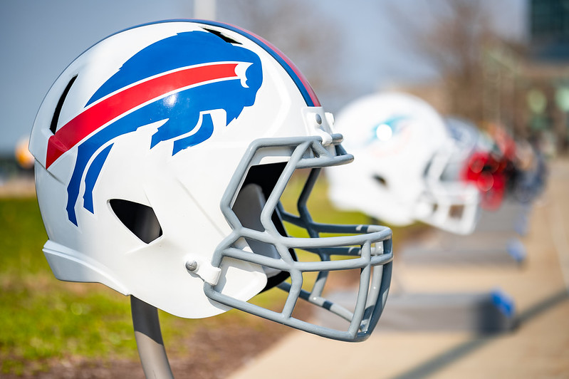 A Buffalo Bills helmet on display outside at the 2021 NFL Draft in Cleveland, Ohio.