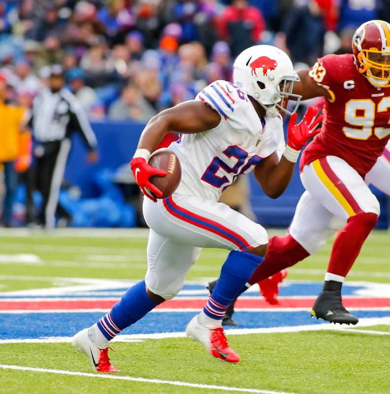 Buffalo Bills running back Devin Singletary running with the football against the Washington Football Team.