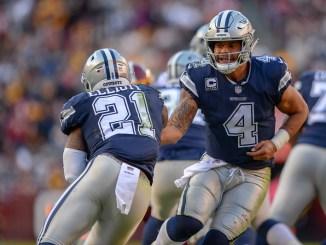 Dallas Cowboys quarterback Dak Prescott handing off the football to running back Ezekiel Elliott in a NFL football game.