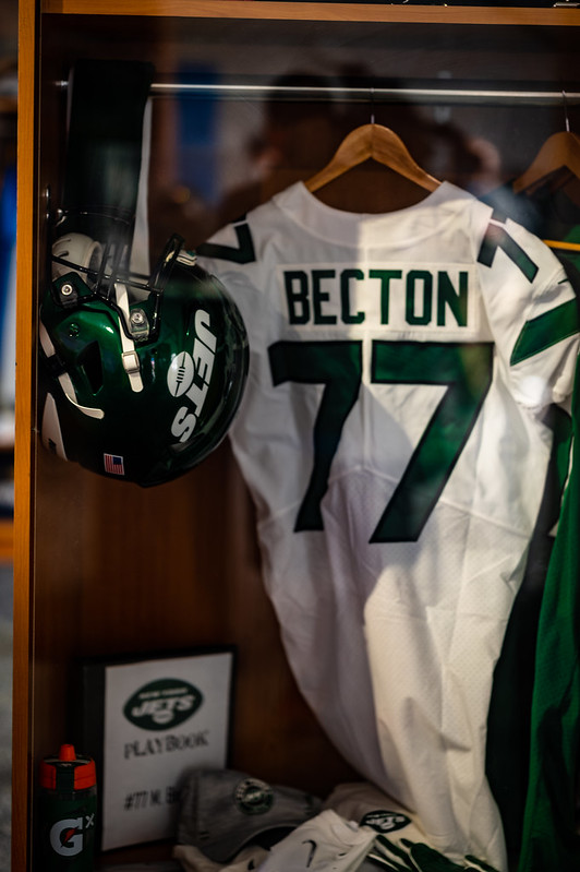 Mekhi Becton's locker on display at the 2021 NFL Draft Experience in Cleveland, Ohio.