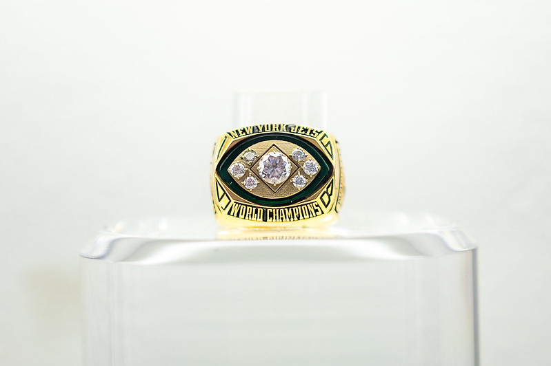 A New York Jets World Champions Super Bowl Ring on display at the 2021 NFL Draft Experience in Cleveland, Ohio.