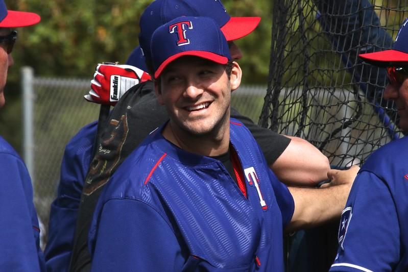 Former Dallas Cowboys quarterback Tony Romo with the Texas Rangers Major League Baseball Team at spring training.