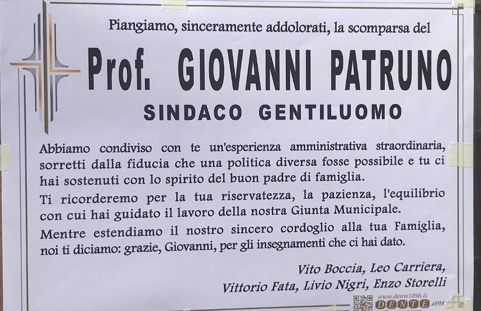 Lutto ex Sindaco Patruno, lo ricordano gli amici di partito