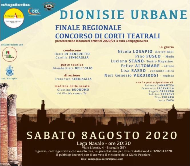 """CompagniAurea: """"Dionisie Urbane"""". La finale regionale della seconda edizione a Bisceglie"""