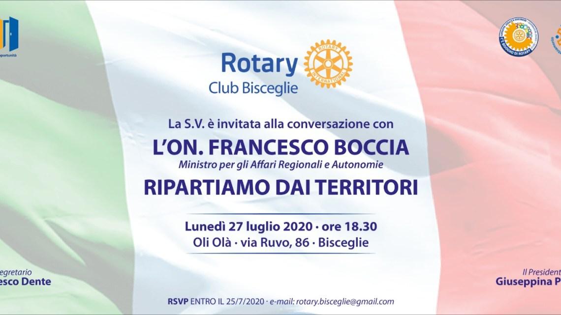Oggi il ministro Boccia al Rotary Club di Bisceglie