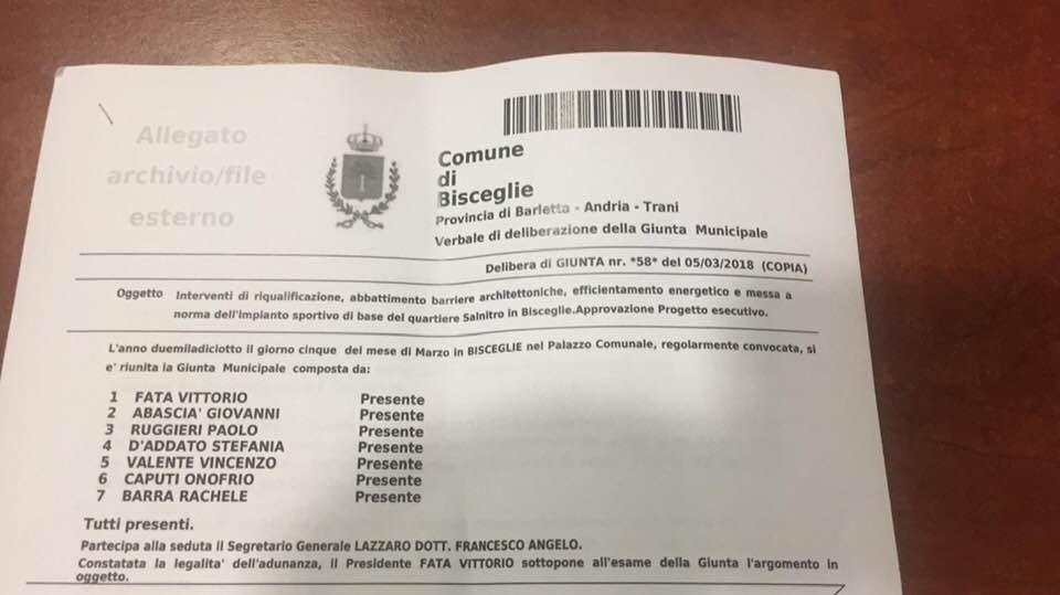 Salnitro, Spina pubblica la delibera di chi ha programmato e finanziato i lavori alla struttura sportiva