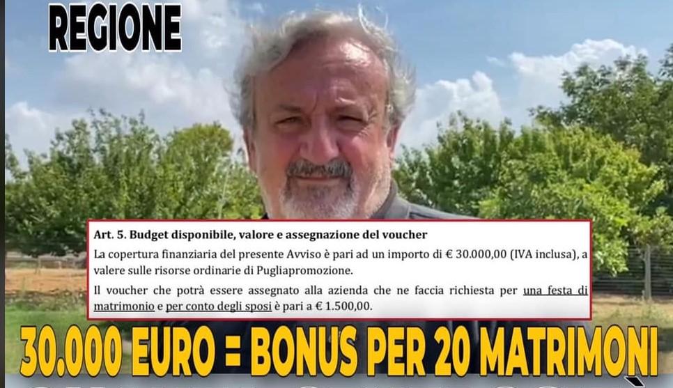 Bonus sposi Regione, Fitto: mancetta, Emiliano accontenta solo 20 coppie