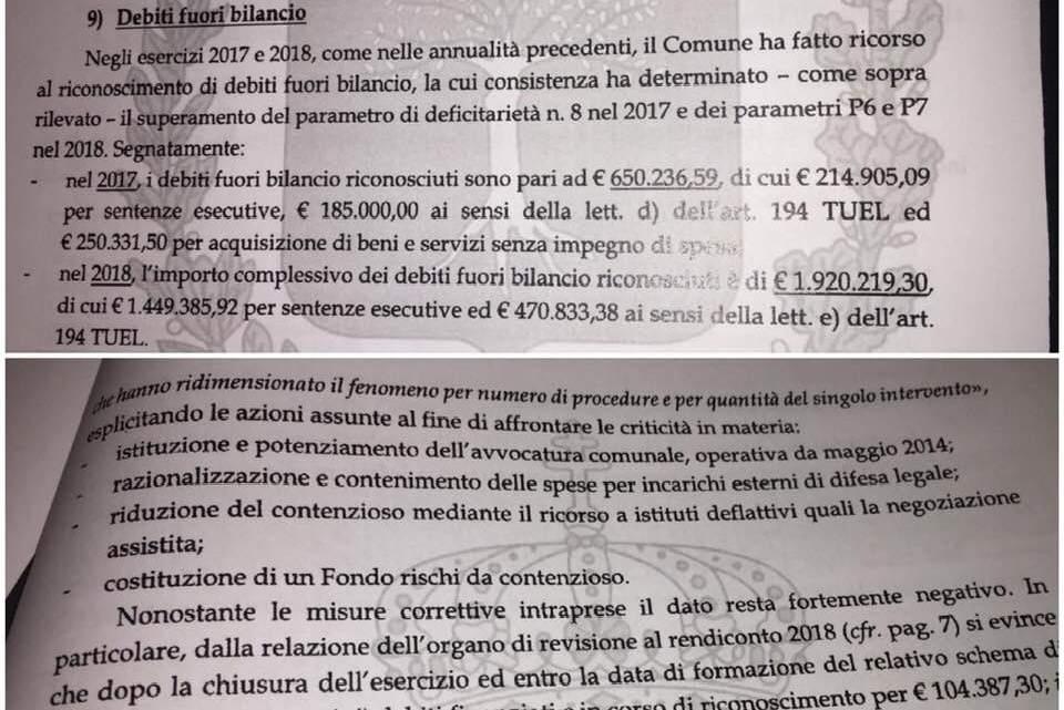 Troppi debiti fuori Bilancio, Spina: «La Corte dei Conti chiede lumi al Sindaco Angarano»