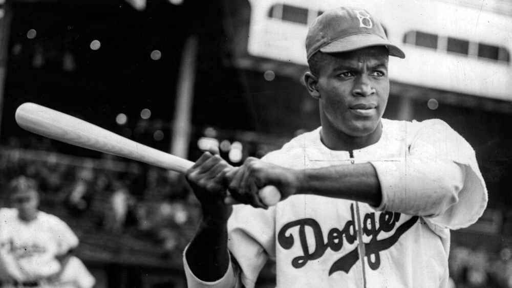 Jackie Robinson with baseball bat