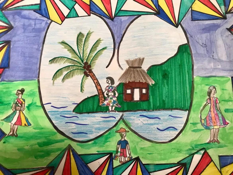 Coco de Mer, o coco gigante de Seychelles, é um dos temas representados pelas crianças seychellois. Aqui, arte de Annabelle Marie, de 11anos - Andrea Miramontes / Lado B Viagem