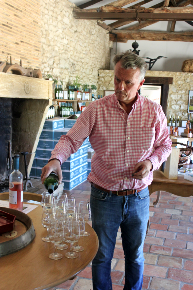Tasting with Hugh Ryman at his organic vineyard, Château de la Jaubertie.