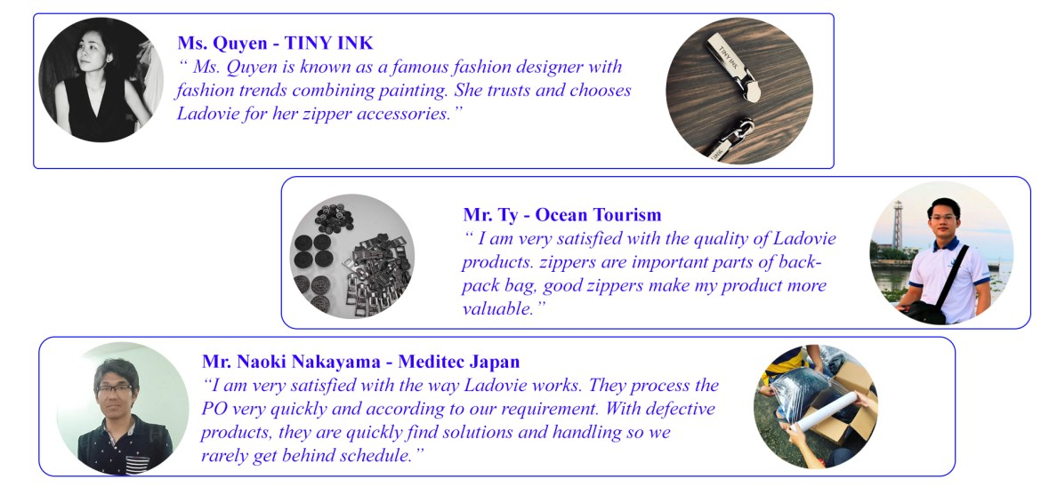 OUR CLIENT'S FEED BACK FOR ZIPPER MANUFACTURER