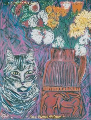 ~ Aux Fleurs Félines ~Pastel sur papier 50/65cm ~ 2012 ~