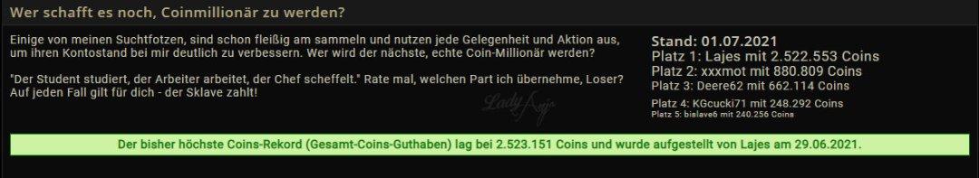 Coins Millionär Zahlsklave Lajes