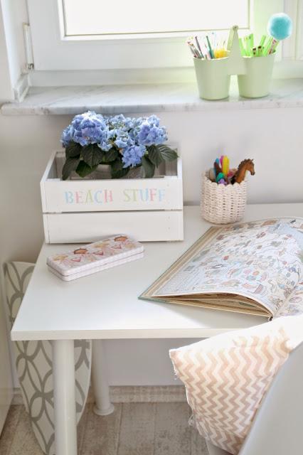 Blick auf eine Hälfte des Schreibtisches mit angemalter Knagglig Box von Ikea und Stifteboxen
