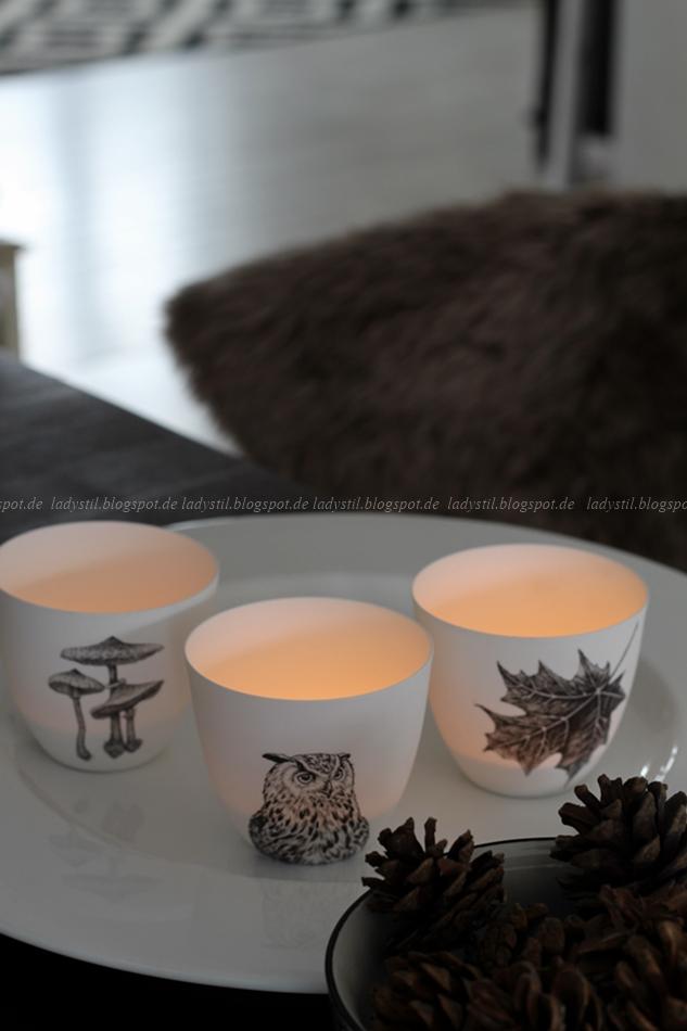 drei Teelichter mit Eulen, Pilz und Blatt Motiv