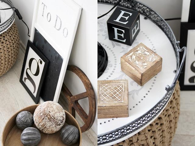 Collage Schlafzimmer Wohndekoration in schwarz weiß Holz mit Bildern und kleinen Accessoires aus Holz
