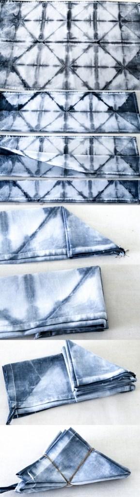 Arbeitsanweisung Shibori in Bildern, DIY Shibori Falt-Tutorial, Kissen und Geschirrtücher batiken,