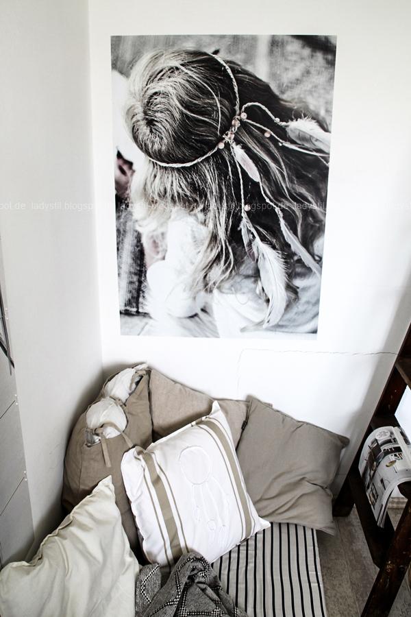 DIY pimp your pillow Bohostyle, Dreamcatcher, Wallsticker Boho, So schnell entsteht eine Indoor-Chill-Area, mit dickem Motive mit dickem Baumwollgarn auf Kissen nähen, Wallsticker von Pixers mit Bohomotiv