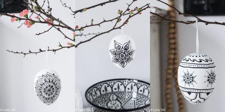 DIY Boho Ostereier Mandala Fliesenkreuz