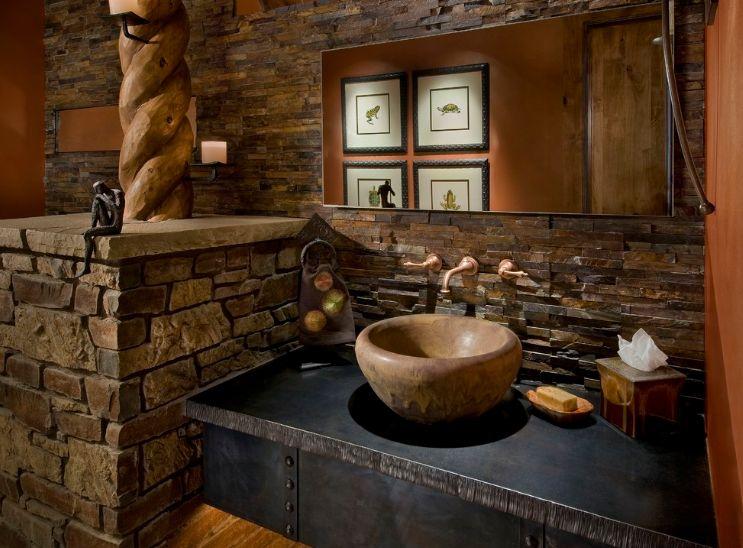 ديكور حوائط حمامات حجرية