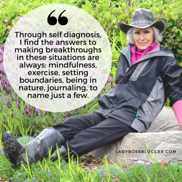 Female entrepreneur lady boss blogger Diane de Mere stress management