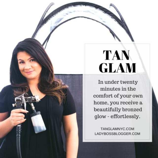 Female entrepreneur lady boss blogger Kirsten Dalland spray tan