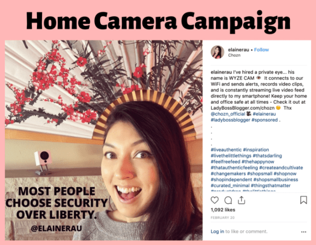 Elaine Rau camera influencer campaign