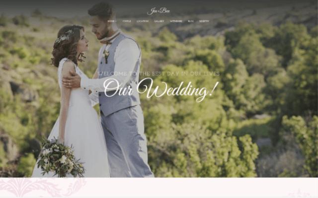 Jen+Ben - One Page Wedding WordPress Theme ladybossblogger.com
