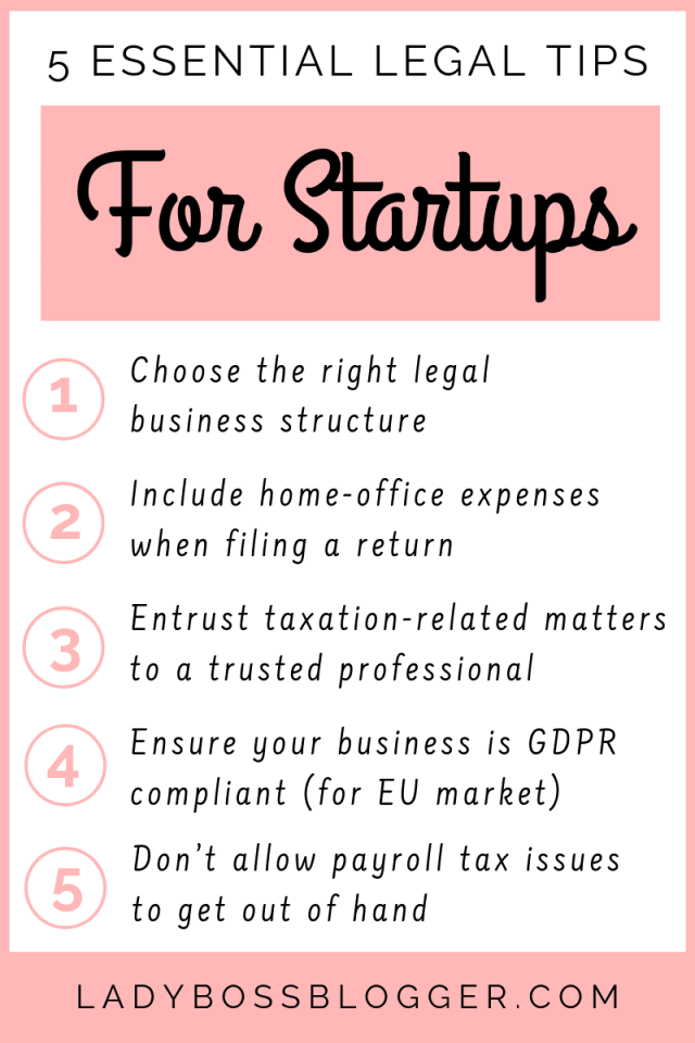 legal tips startups LadyBossBlogger.com