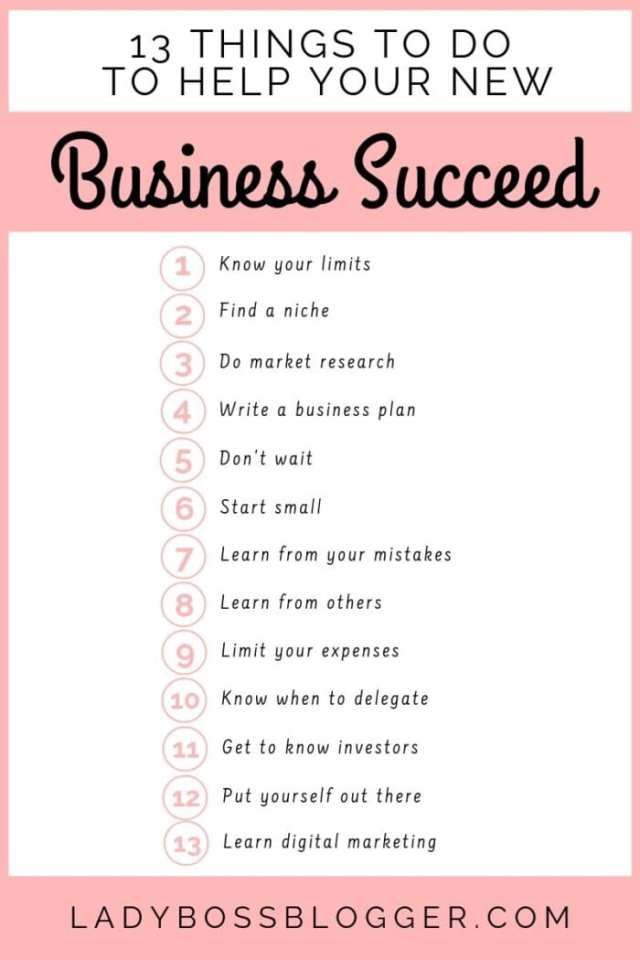 13 Things To Do To Help Your New Business Succeed