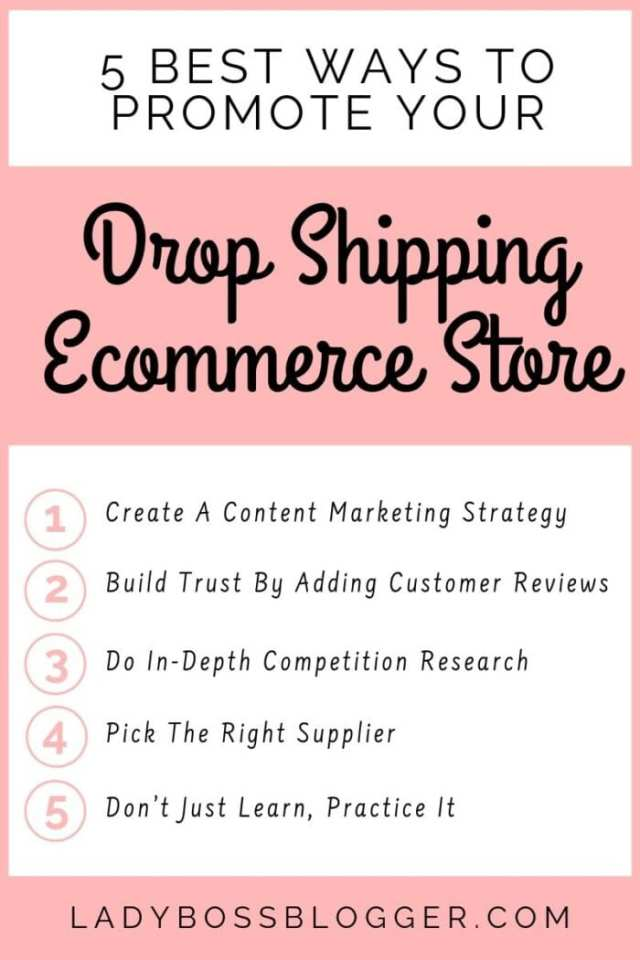 promote drop shipping store ladybossblogger