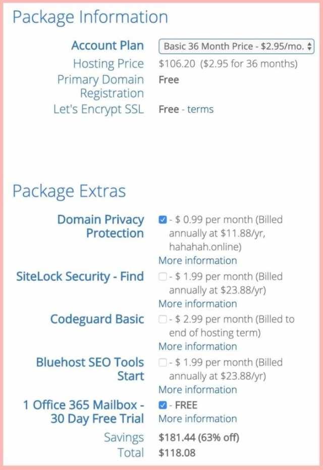 select package blog host bluehost ladybossblogger