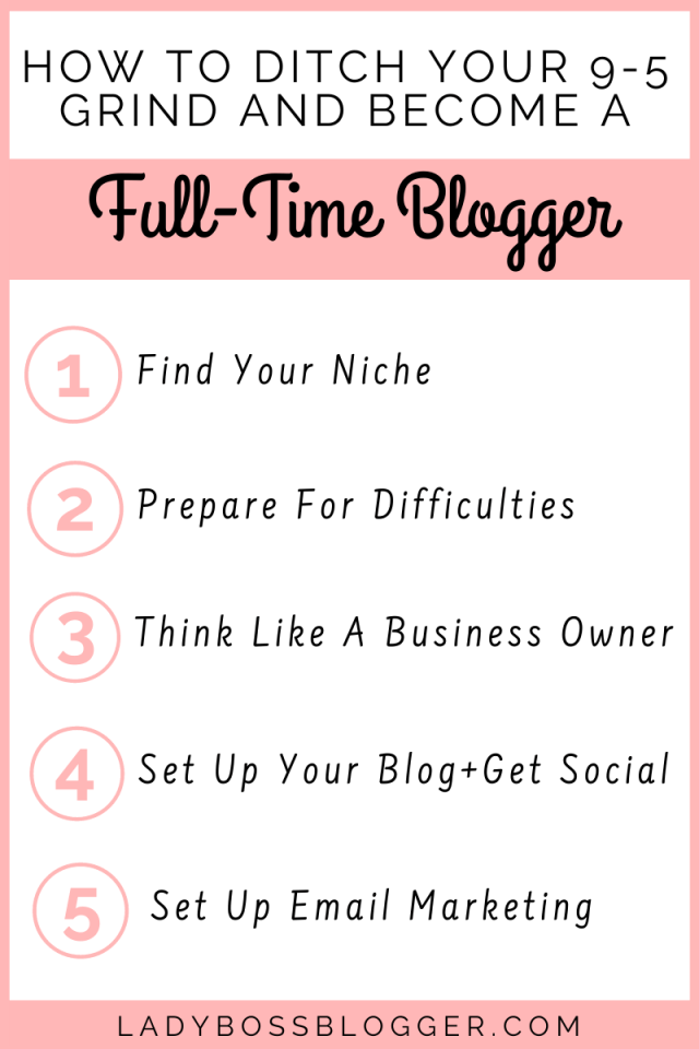 How To Ditch Your 9-5 Grind And Become A Full-Time Blogger ladybossblogger.com (1)