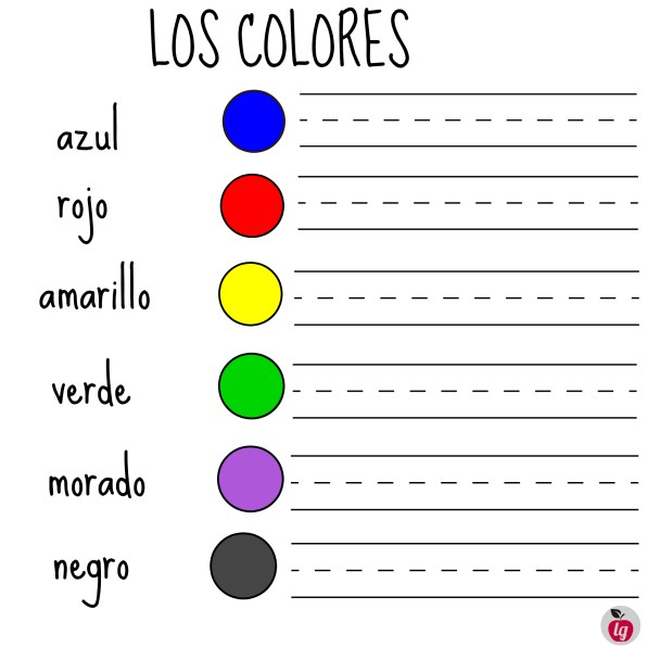free printables colors in Spanish