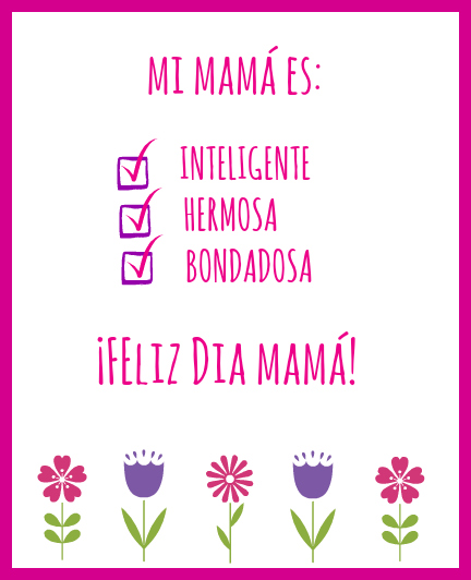 photo relating to Printable Mothers Day Cards for Wife called Cost-free Printable Moms Working day Playing cards inside Spanish and English