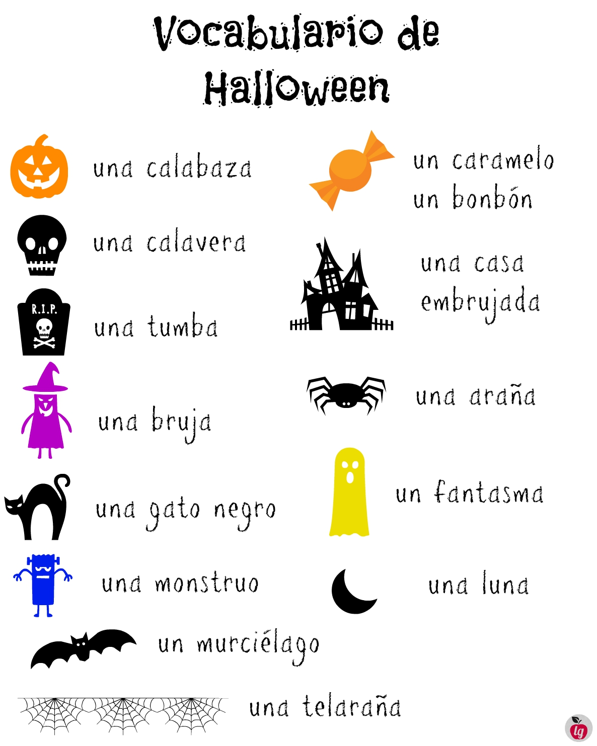 Vocabulario De Halloween Spanish