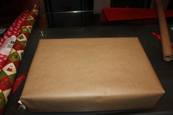 butcher paper wrapped gift