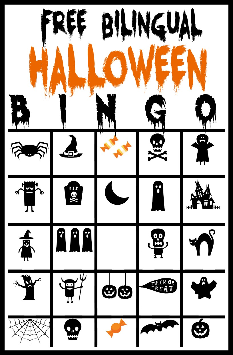 picture relating to Free Printable Halloween Bingo Cards identified as Free of charge Printable Bilingual Halloween Bingo activity - LadydeeLG