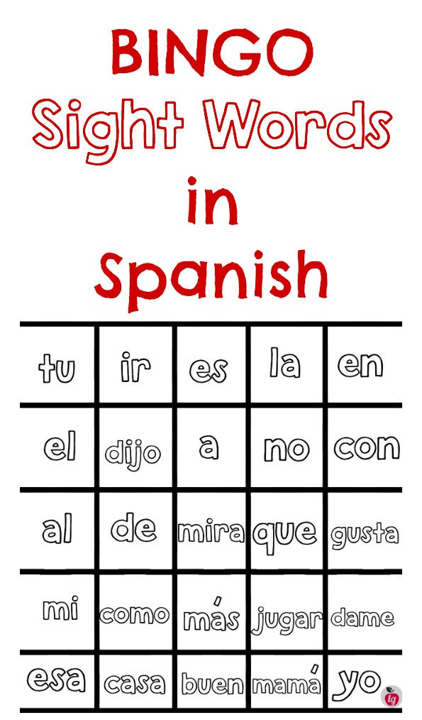 graphic about Printable Bingo for Kids named Educate Spanish Sight Terms: Absolutely free Printable Bingo - LadydeeLG