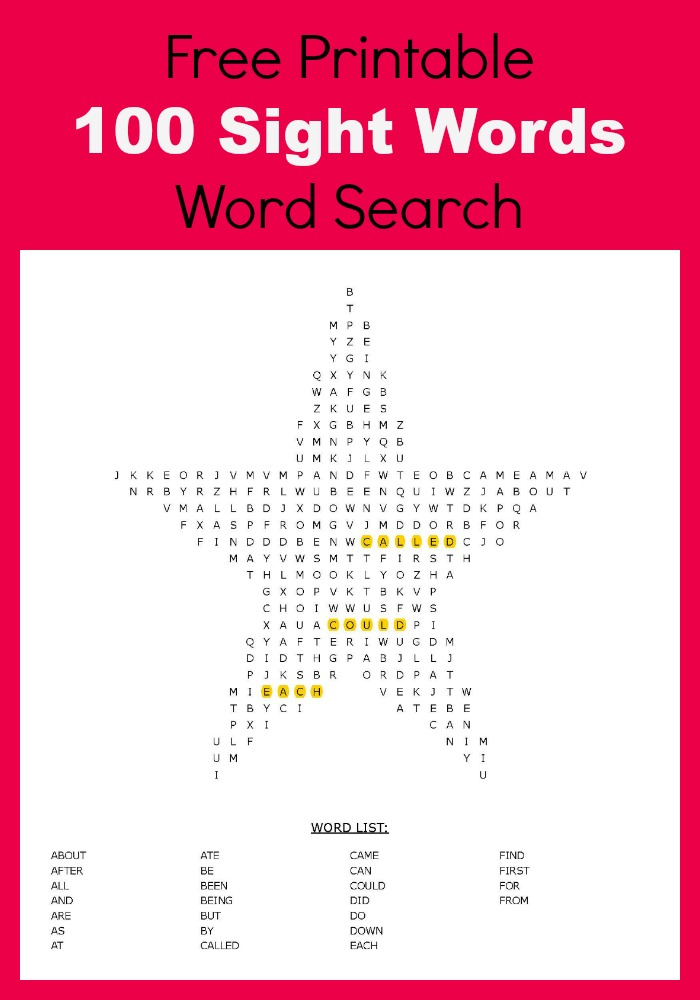 100 sight words word search-free printables