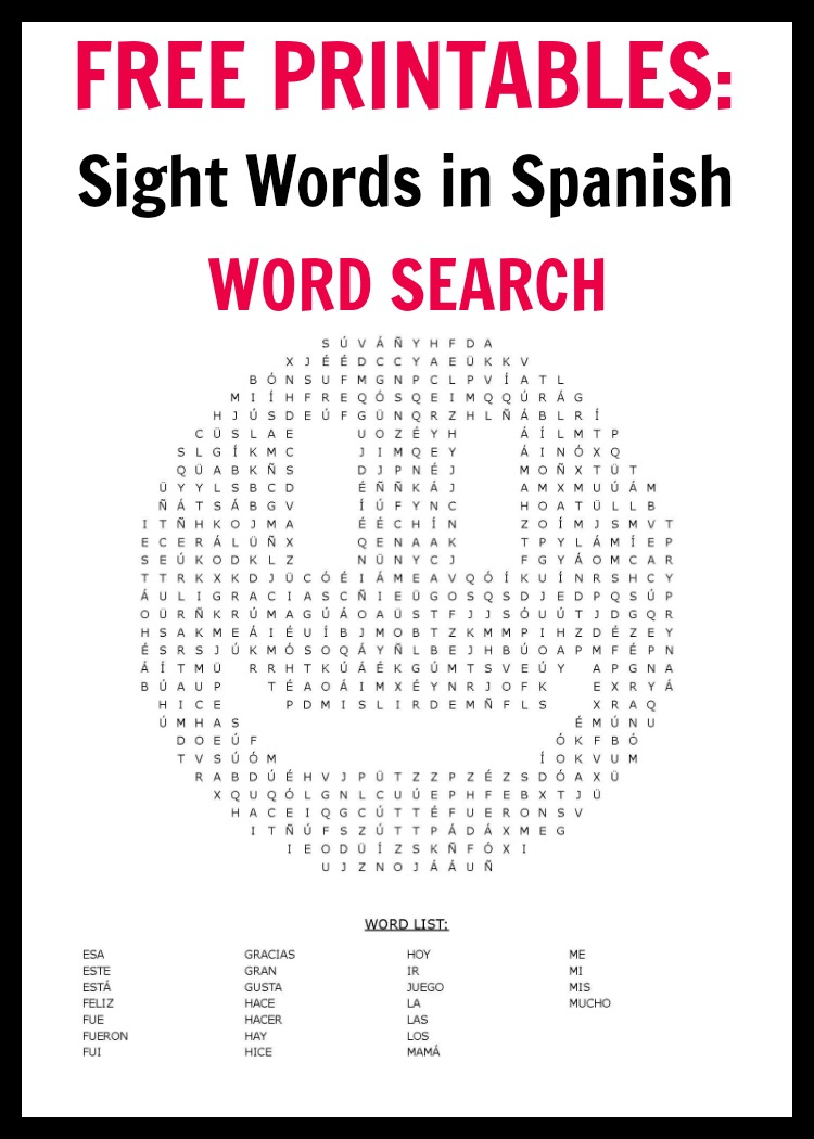 picture relating to Spanish Word Searches Printable titled 100 Spanish Sight Text Term Appear Free of charge Printables