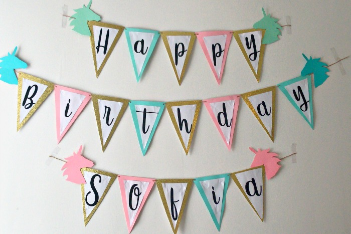 diy unicorn birthday banner