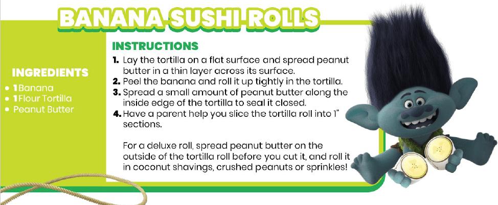 Trolls World Tour Snacks- Banana Sushi Rolls