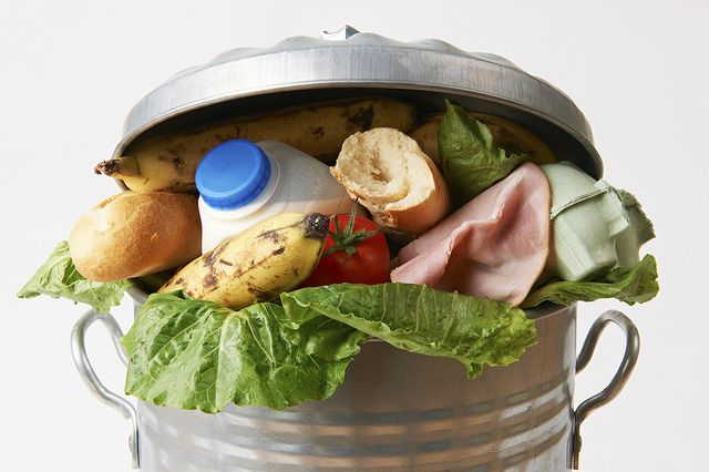 Food in a garbage can.